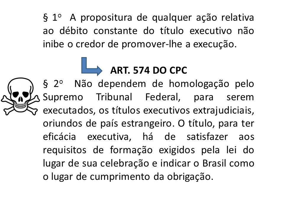 § 1o A propositura de qualquer ação relativa ao débito constante do título executivo não inibe o credor de promover-lhe a execução.