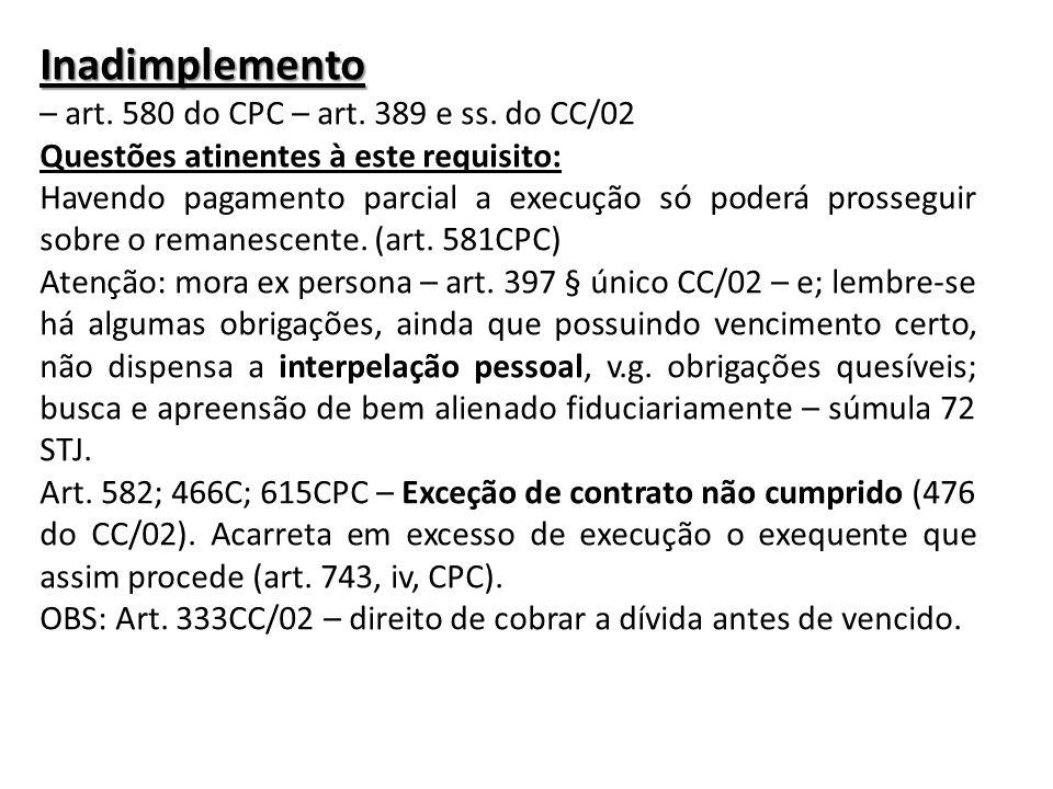 Inadimplemento – art. 580 do CPC – art. 389 e ss. do CC/02