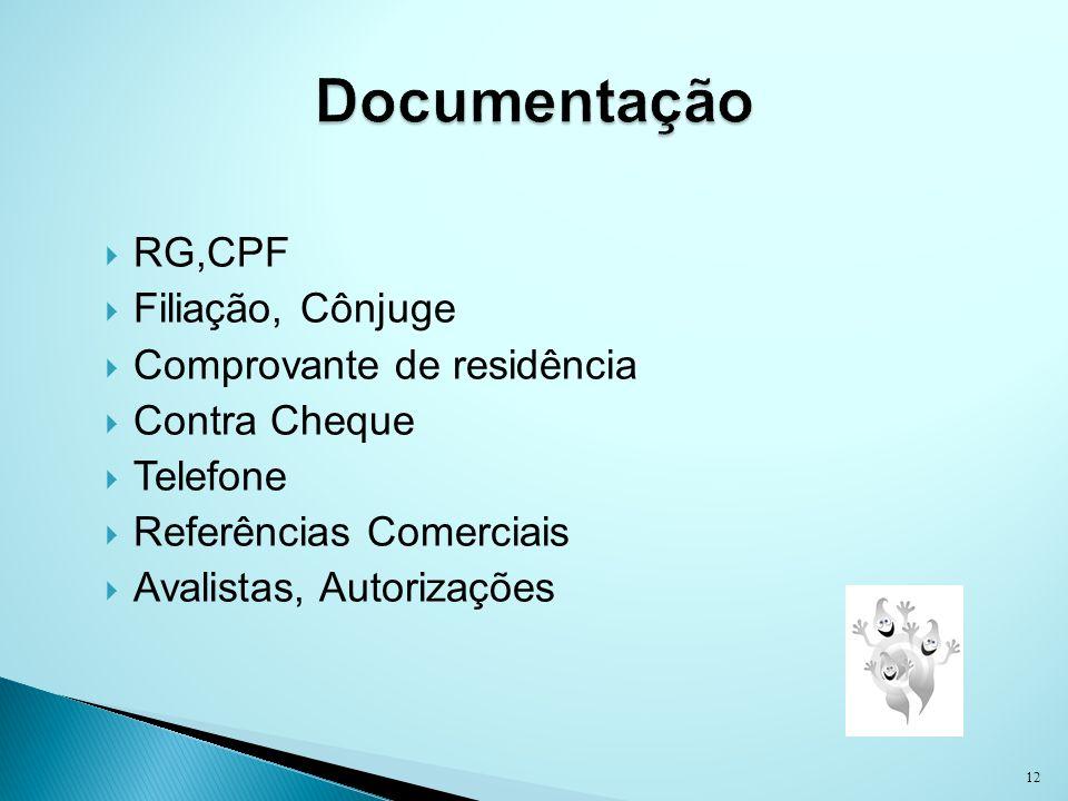 Documentação RG,CPF Filiação, Cônjuge Comprovante de residência