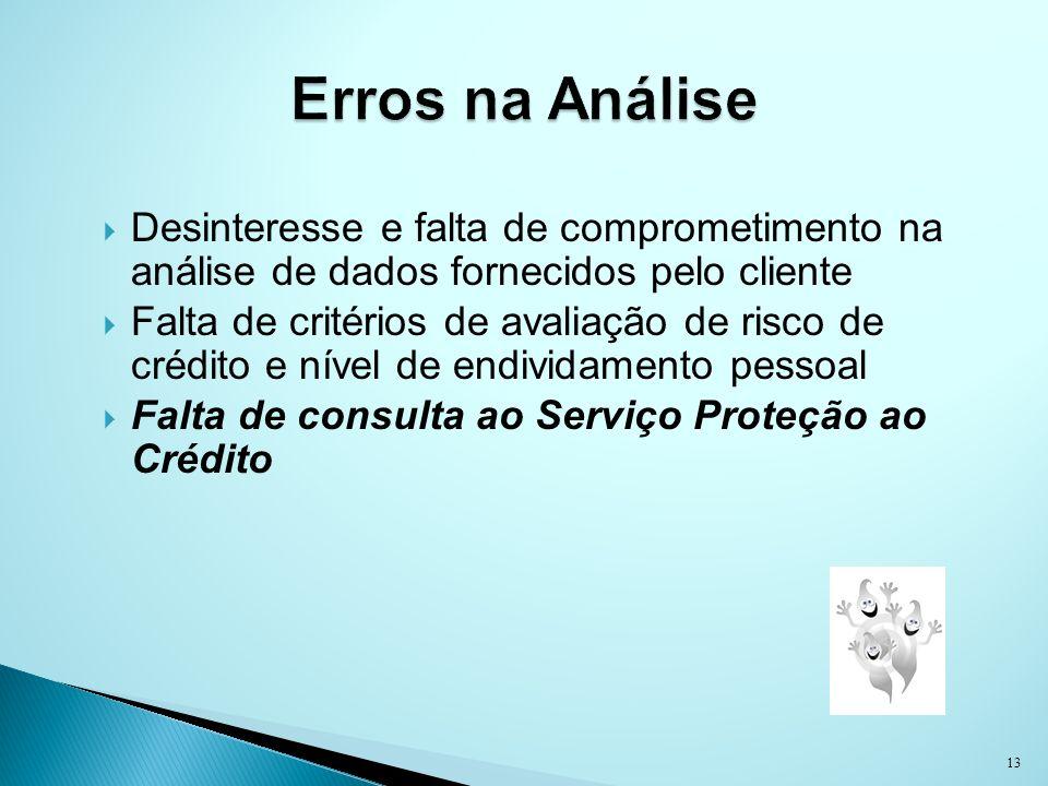 Erros na Análise Desinteresse e falta de comprometimento na análise de dados fornecidos pelo cliente.