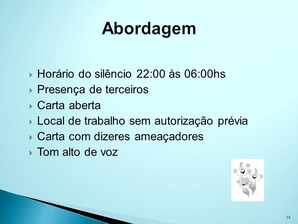 Abordagem Horário do silêncio 22:00 às 06:00hs Presença de terceiros