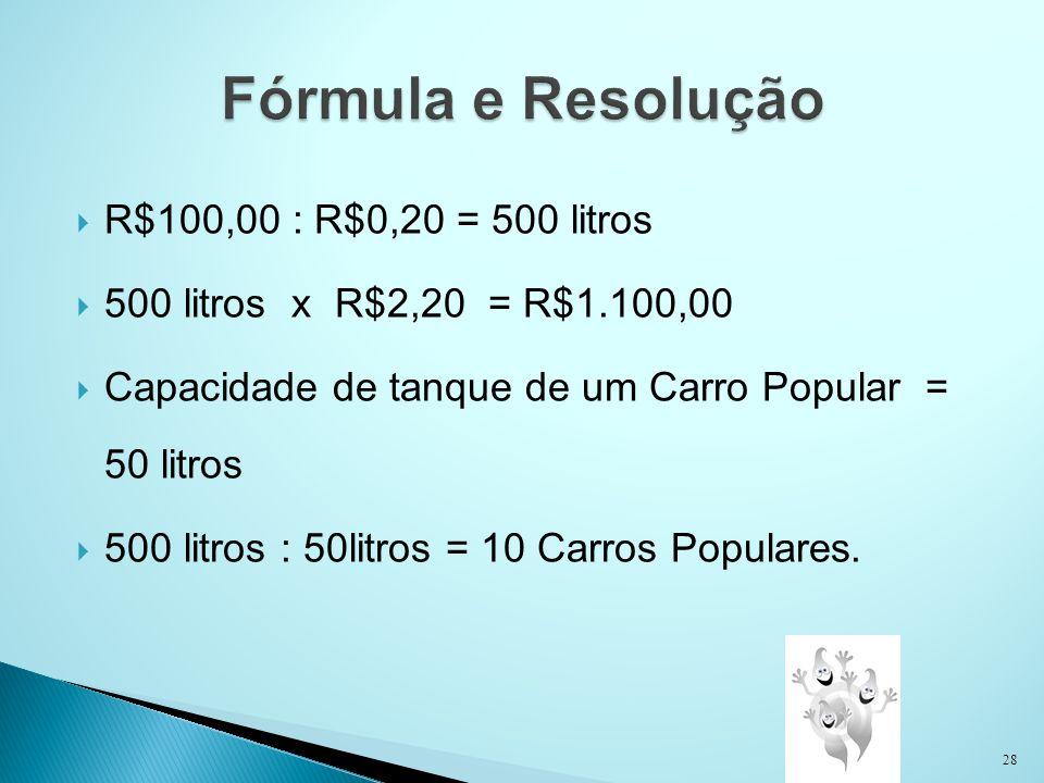 Fórmula e Resolução R$100,00 : R$0,20 = 500 litros