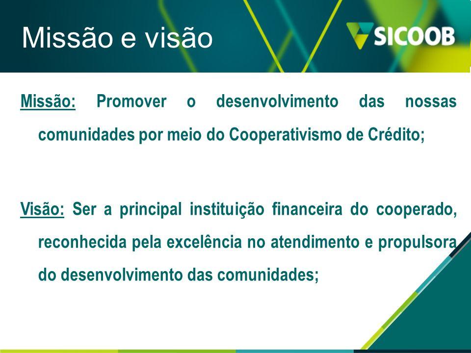 Missão e visão Missão: Promover o desenvolvimento das nossas comunidades por meio do Cooperativismo de Crédito;