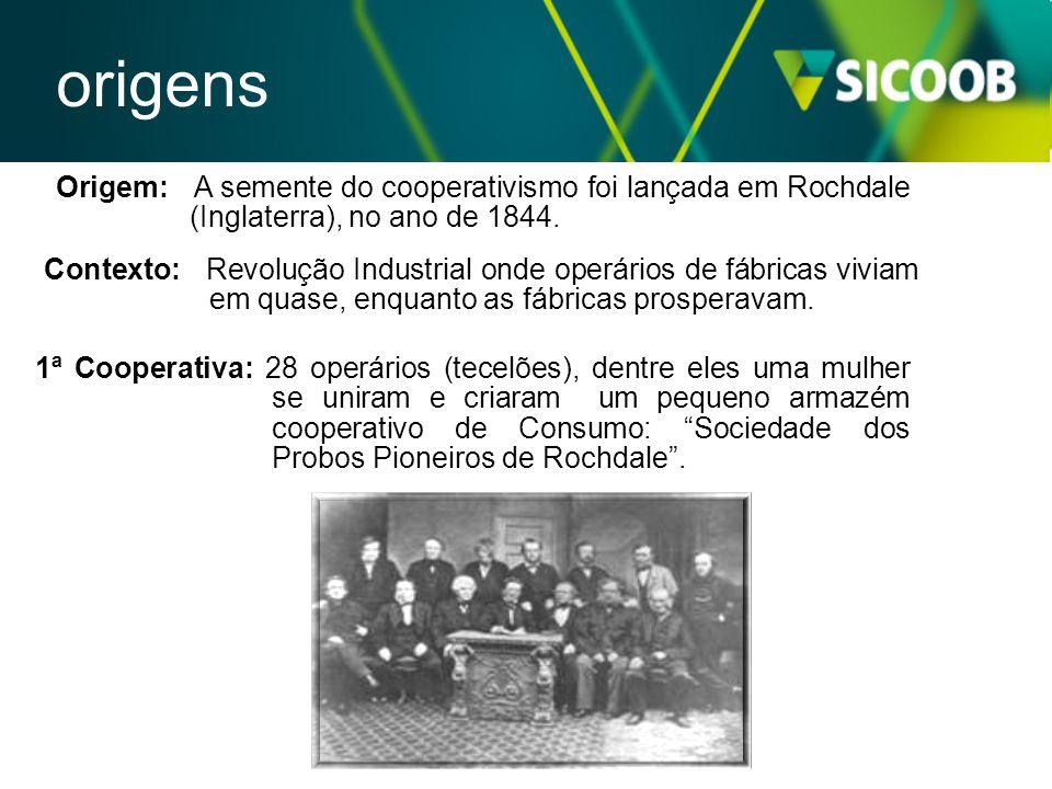origens Origem: A semente do cooperativismo foi lançada em Rochdale (Inglaterra), no ano de 1844.