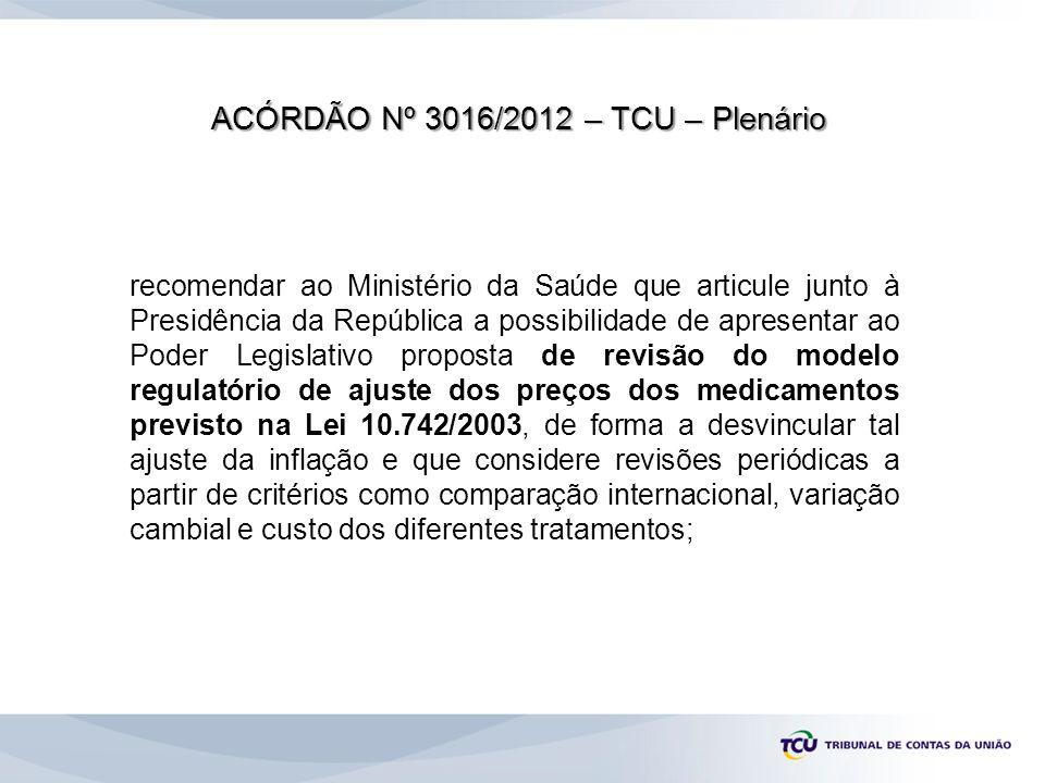 ACÓRDÃO Nº 3016/2012 – TCU – Plenário