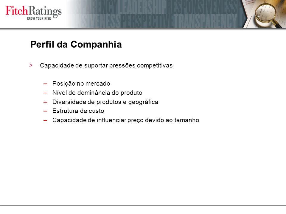 Perfil da Companhia Capacidade de suportar pressões competitivas