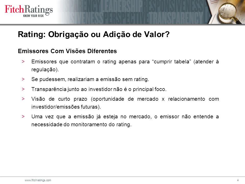 Rating: Obrigação ou Adição de Valor Emissores Com Visões Diferentes