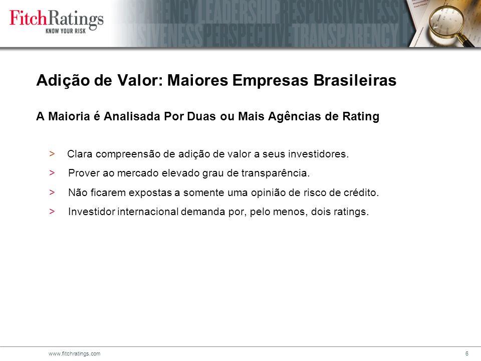 Adição de Valor: Maiores Empresas Brasileiras A Maioria é Analisada Por Duas ou Mais Agências de Rating