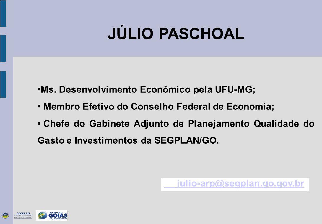 JÚLIO PASCHOAL Ms. Desenvolvimento Econômico pela UFU-MG;