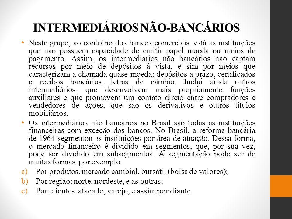 INTERMEDIÁRIOS NÃO-BANCÁRIOS