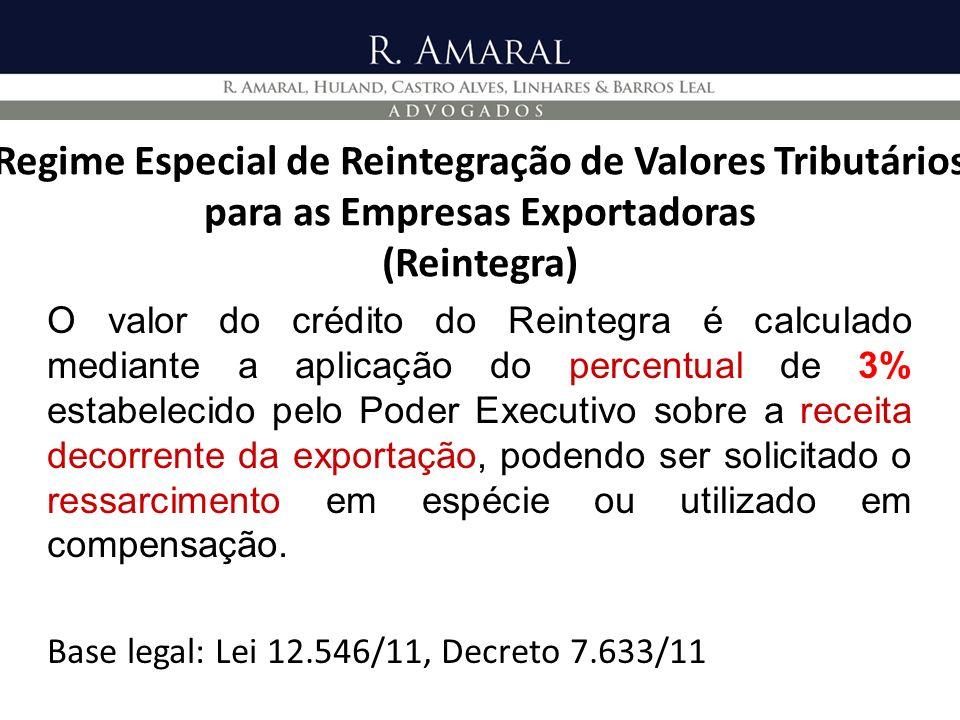 Regime Especial de Reintegração de Valores Tributários para as Empresas Exportadoras (Reintegra)