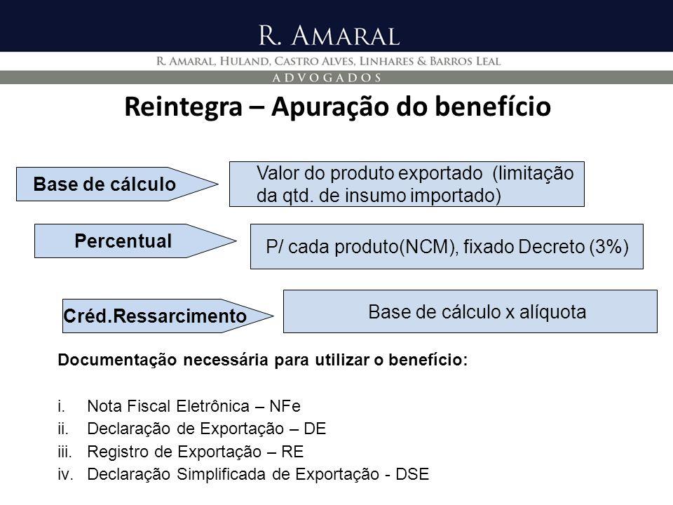 Reintegra – Apuração do benefício