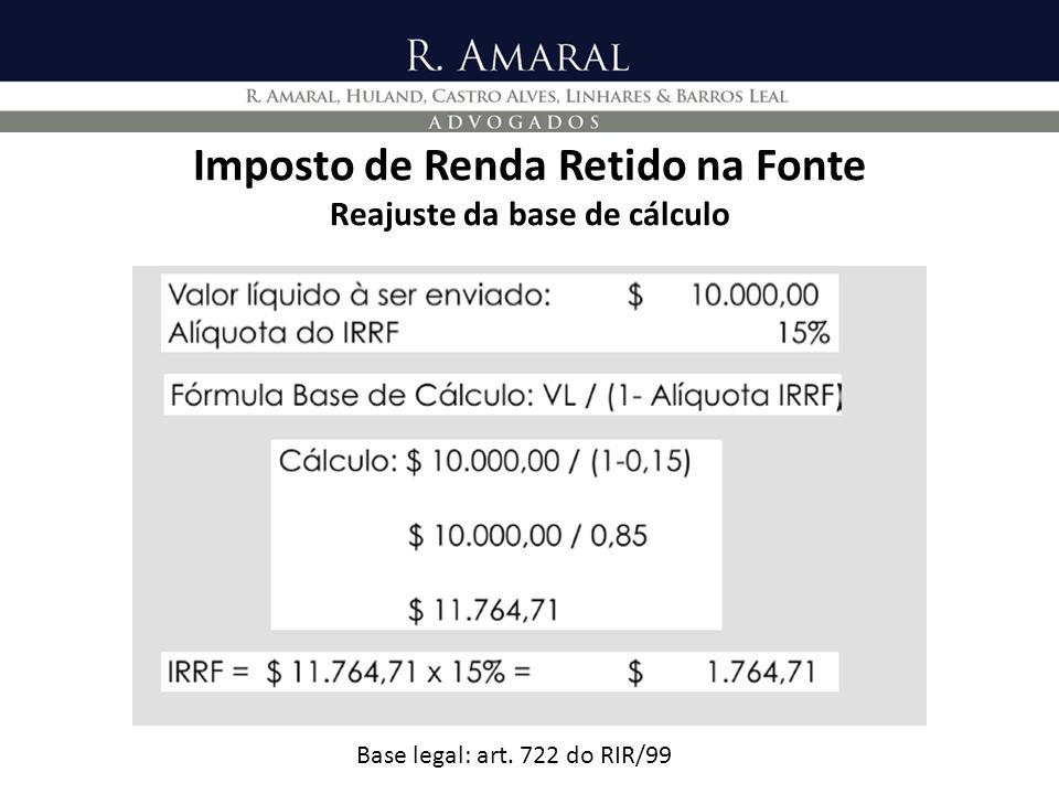 Imposto de Renda Retido na Fonte Reajuste da base de cálculo