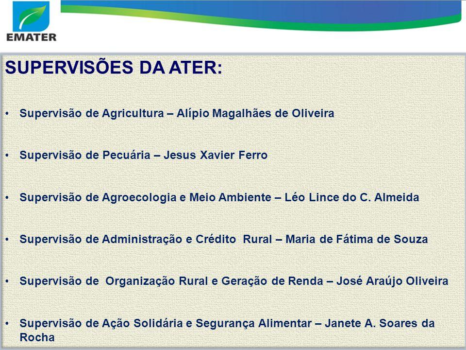 SUPERVISÕES DA ATER: Supervisão de Agricultura – Alípio Magalhães de Oliveira. Supervisão de Pecuária – Jesus Xavier Ferro.