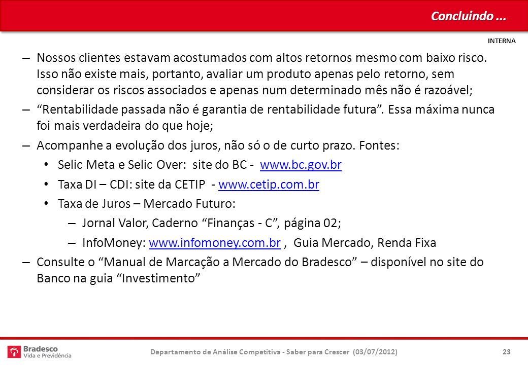 Departamento de Análise Competitiva - Saber para Crescer (03/07/2012)