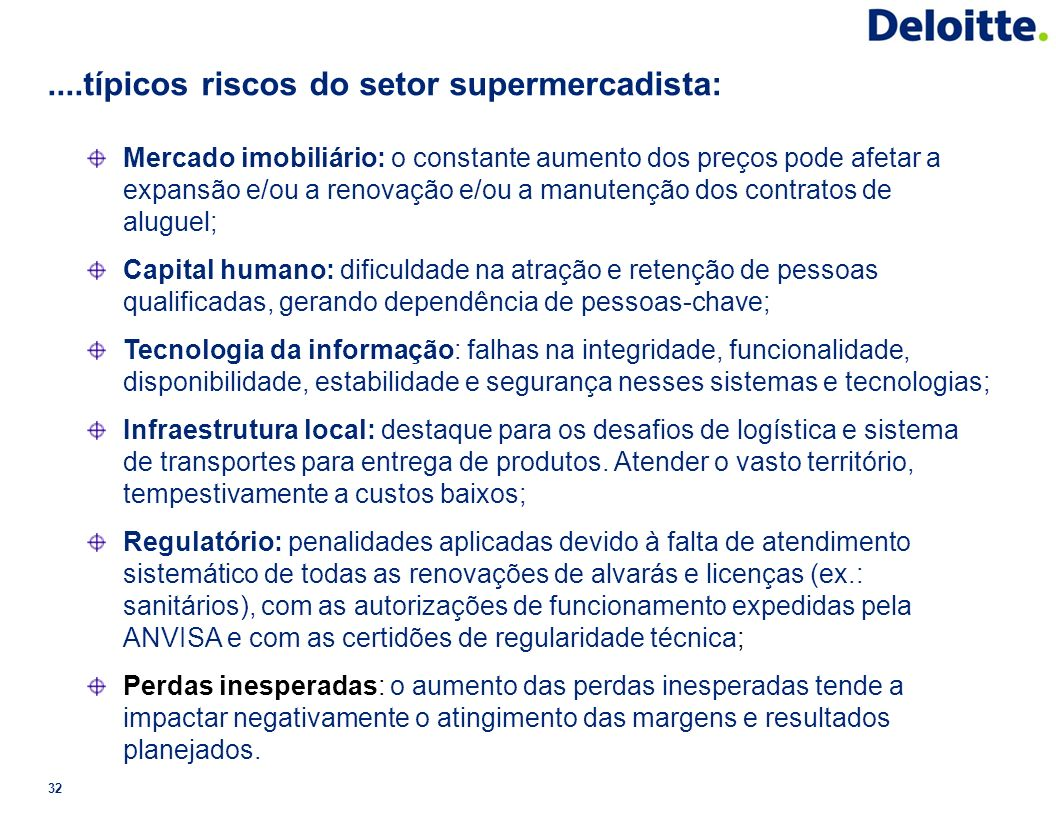 ....típicos riscos do setor supermercadista: