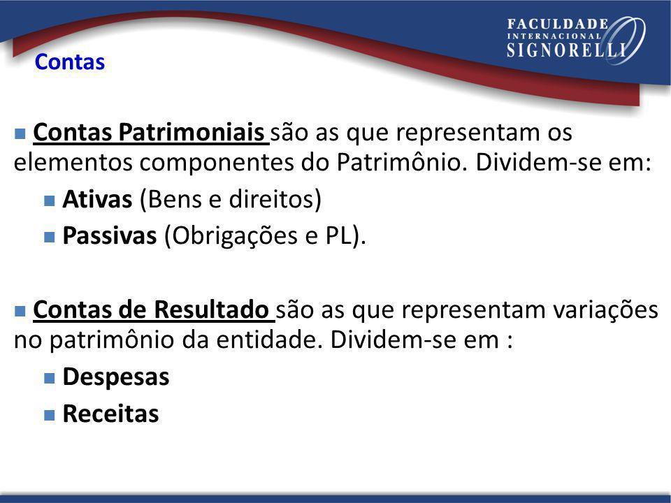 Ativas (Bens e direitos) Passivas (Obrigações e PL).