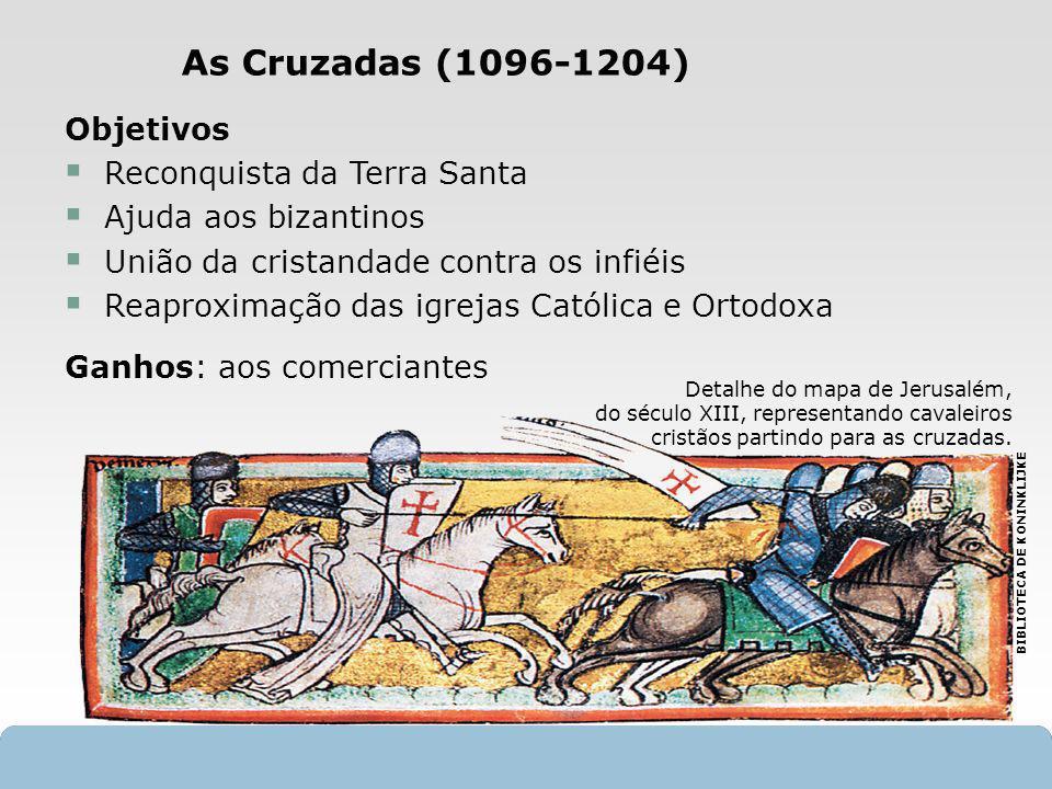 As Cruzadas (1096-1204) Objetivos Reconquista da Terra Santa