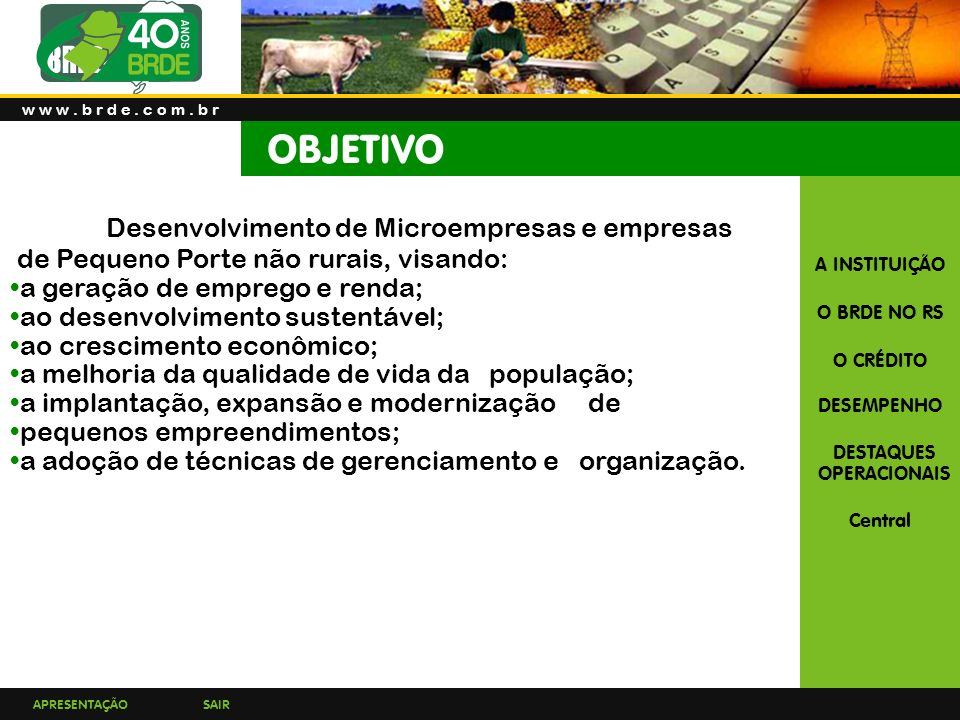 OBJETIVO Desenvolvimento de Microempresas e empresas
