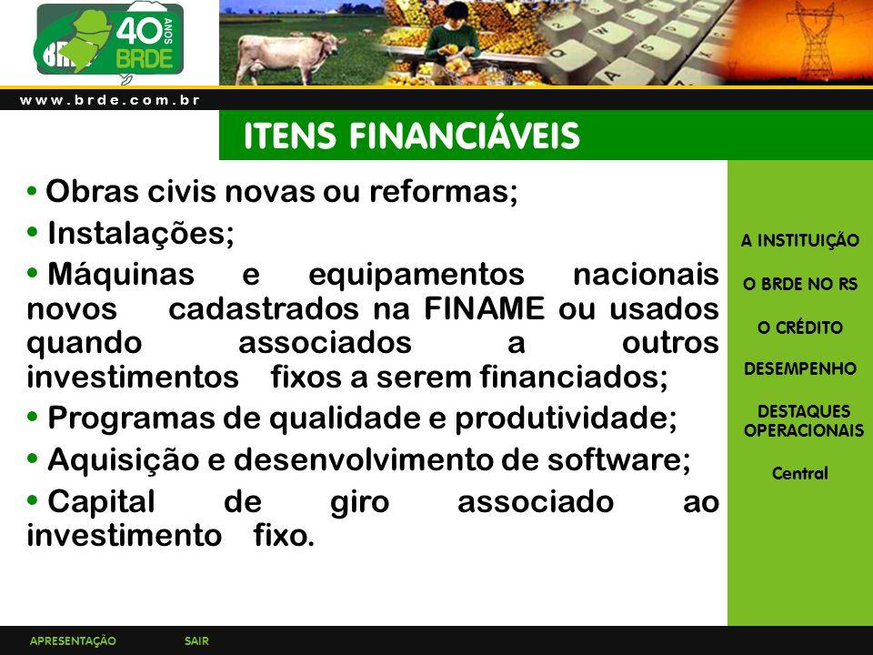 ITENS FINANCIÁVEIS Instalações;