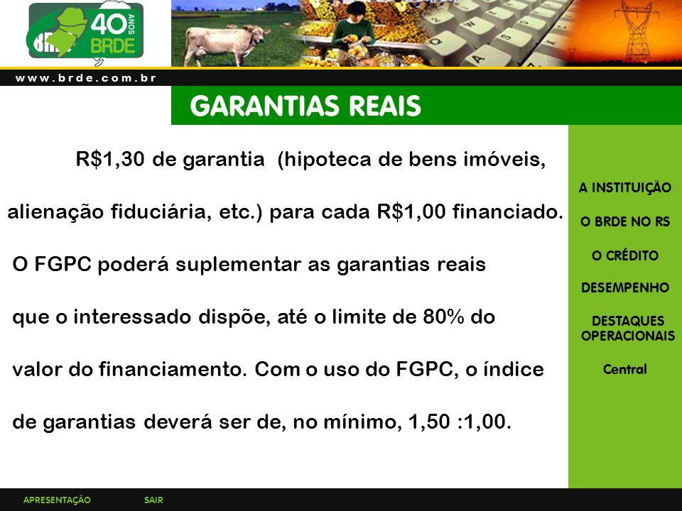 w w w . b r d e . c o m . b r GARANTIAS REAIS. R$1,30 de garantia (hipoteca de bens imóveis,
