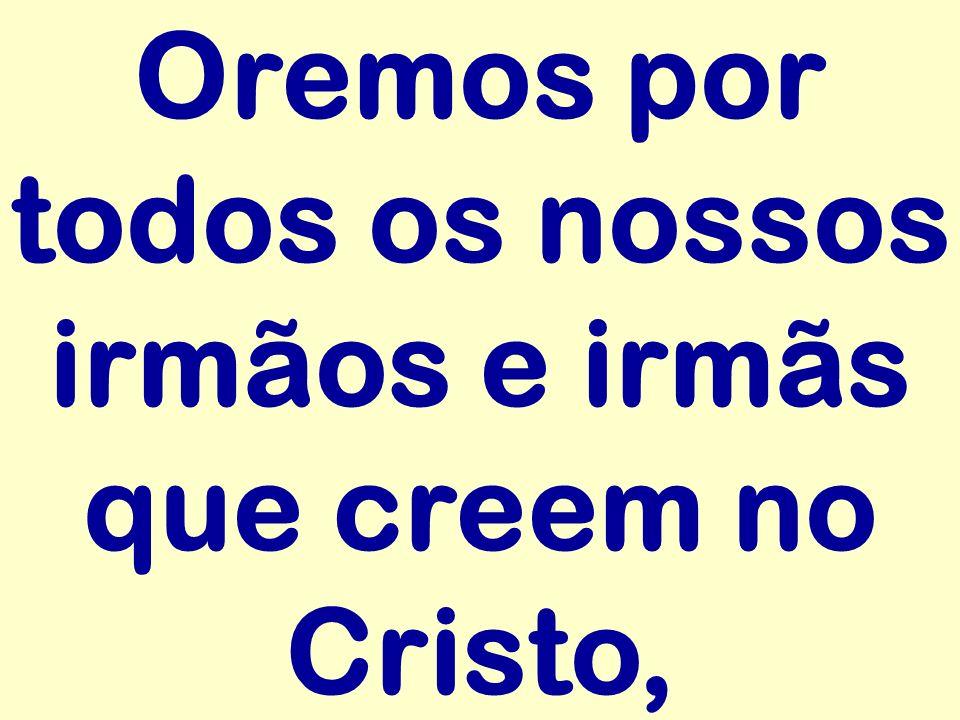 Oremos por todos os nossos irmãos e irmãs que creem no Cristo,