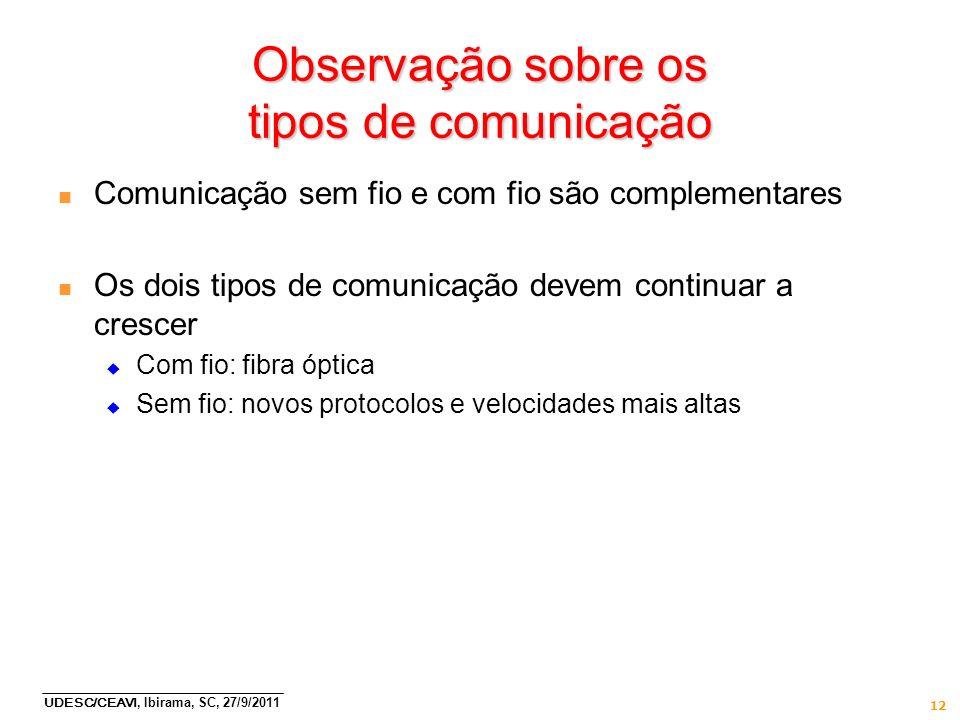 Observação sobre os tipos de comunicação