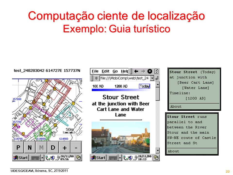 Computação ciente de localização Exemplo: Guia turístico