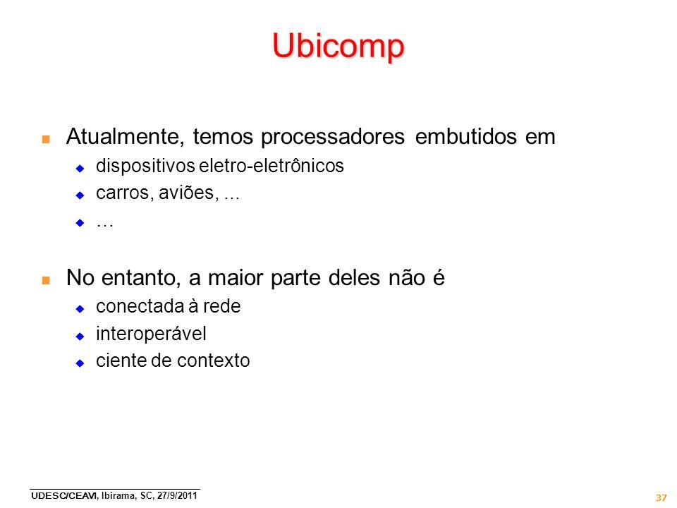 Ubicomp Atualmente, temos processadores embutidos em