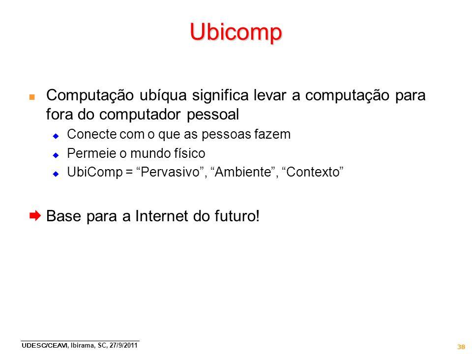 Ubicomp Computação ubíqua significa levar a computação para fora do computador pessoal. Conecte com o que as pessoas fazem.
