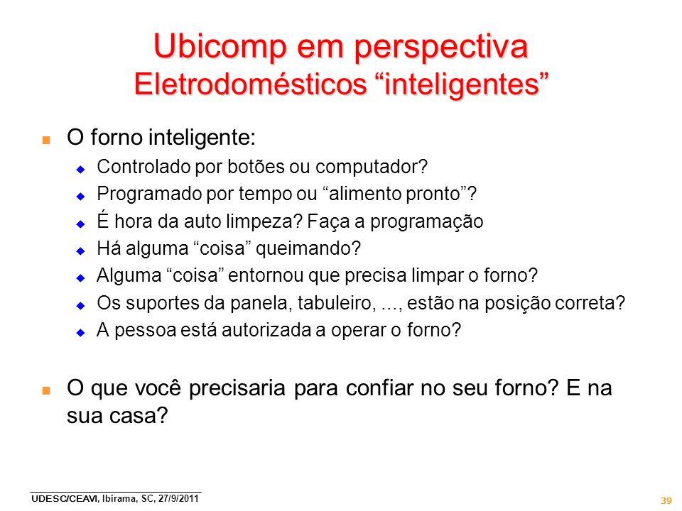 Ubicomp em perspectiva Eletrodomésticos inteligentes