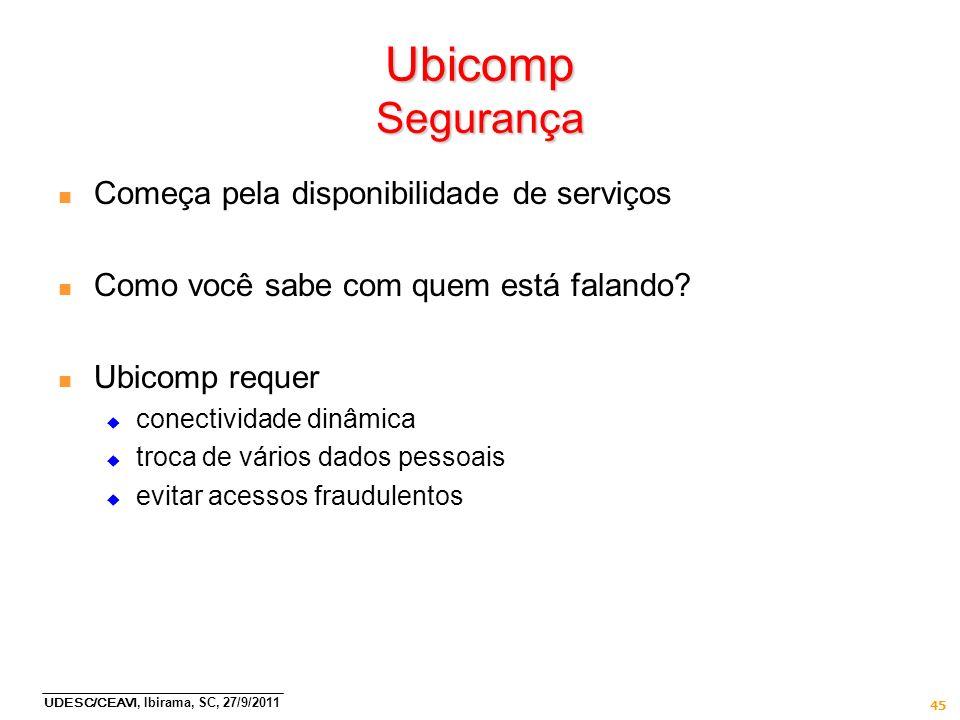 Ubicomp Segurança Começa pela disponibilidade de serviços