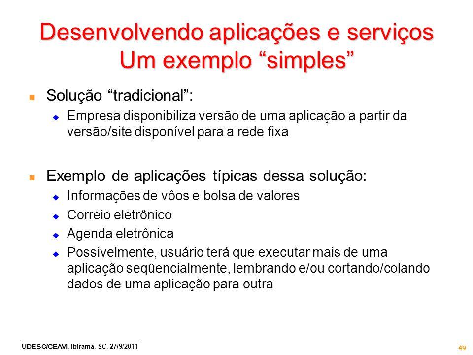 Desenvolvendo aplicações e serviços Um exemplo simples