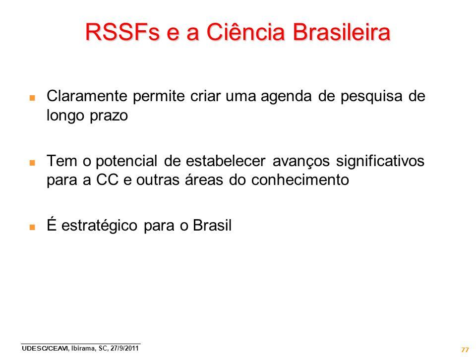 RSSFs e a Ciência Brasileira