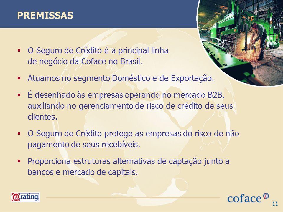 PREMISSAS O Seguro de Crédito é a principal linha de negócio da Coface no Brasil.