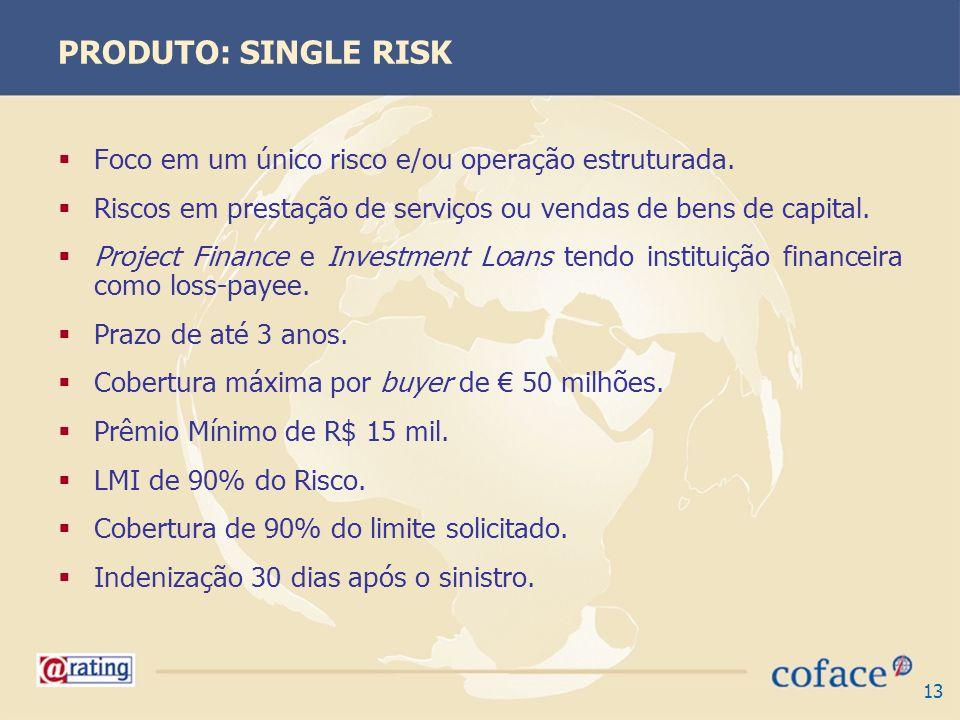 PRODUTO: SINGLE RISK Foco em um único risco e/ou operação estruturada.
