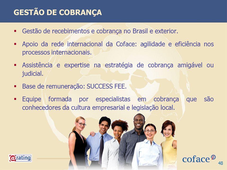GESTÃO DE COBRANÇA Gestão de recebimentos e cobrança no Brasil e exterior.