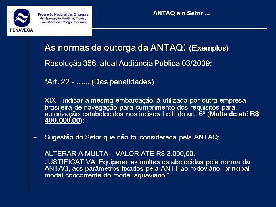 As normas de outorga da ANTAQ: (Exemplos)