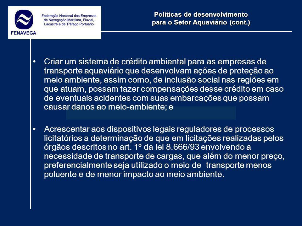 Políticas de desenvolvimento para o Setor Aquaviário (cont.)