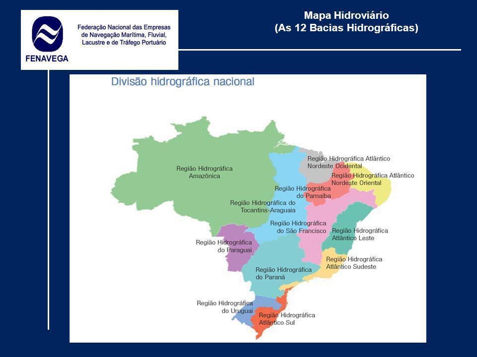 Mapa Hidroviário (As 12 Bacias Hidrográficas)