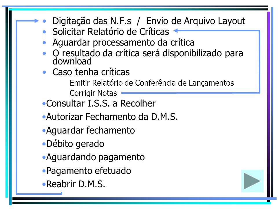 Digitação das N.F.s / Envio de Arquivo Layout