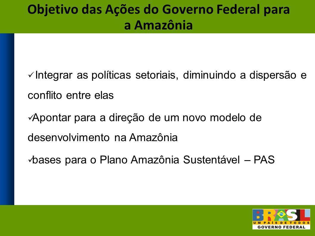 Objetivo das Ações do Governo Federal para a Amazônia