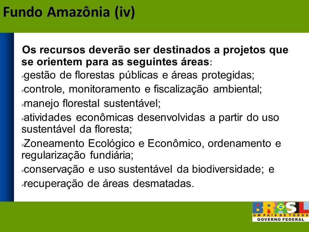 Fundo Amazônia (iv) Os recursos deverão ser destinados a projetos que se orientem para as seguintes áreas: