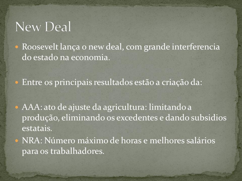 New Deal Roosevelt lança o new deal, com grande interferencia do estado na economia. Entre os principais resultados estão a criação da: