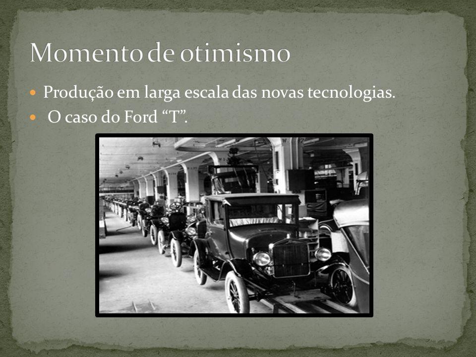 Momento de otimismo Produção em larga escala das novas tecnologias.