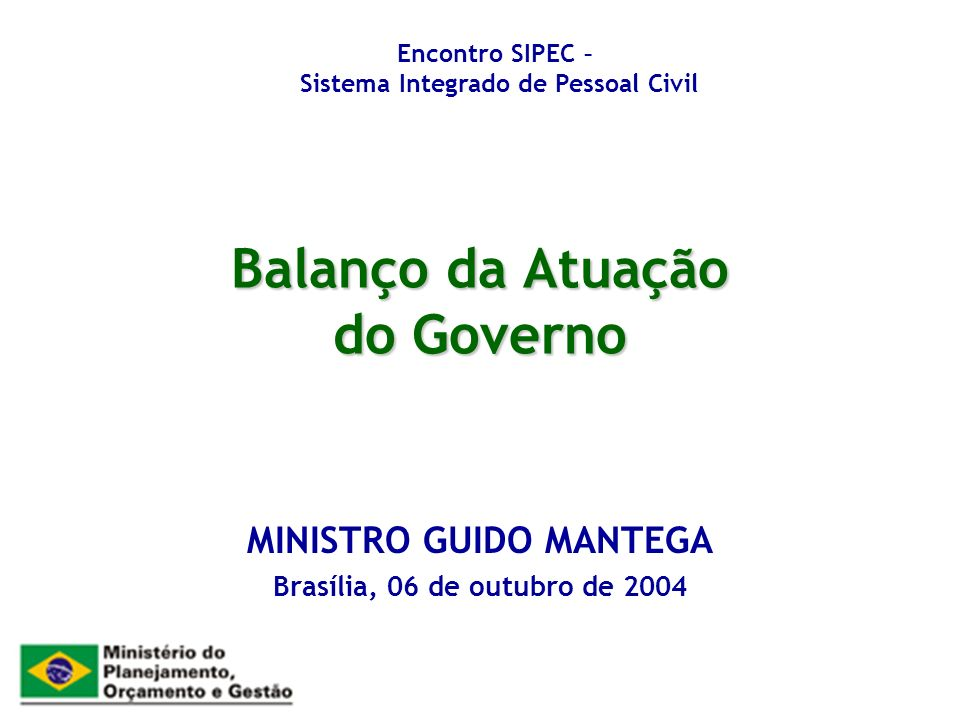Balanço da Atuação do Governo