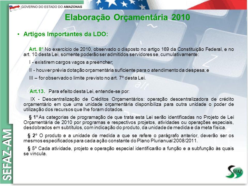 Elaboração Orçamentária 2010