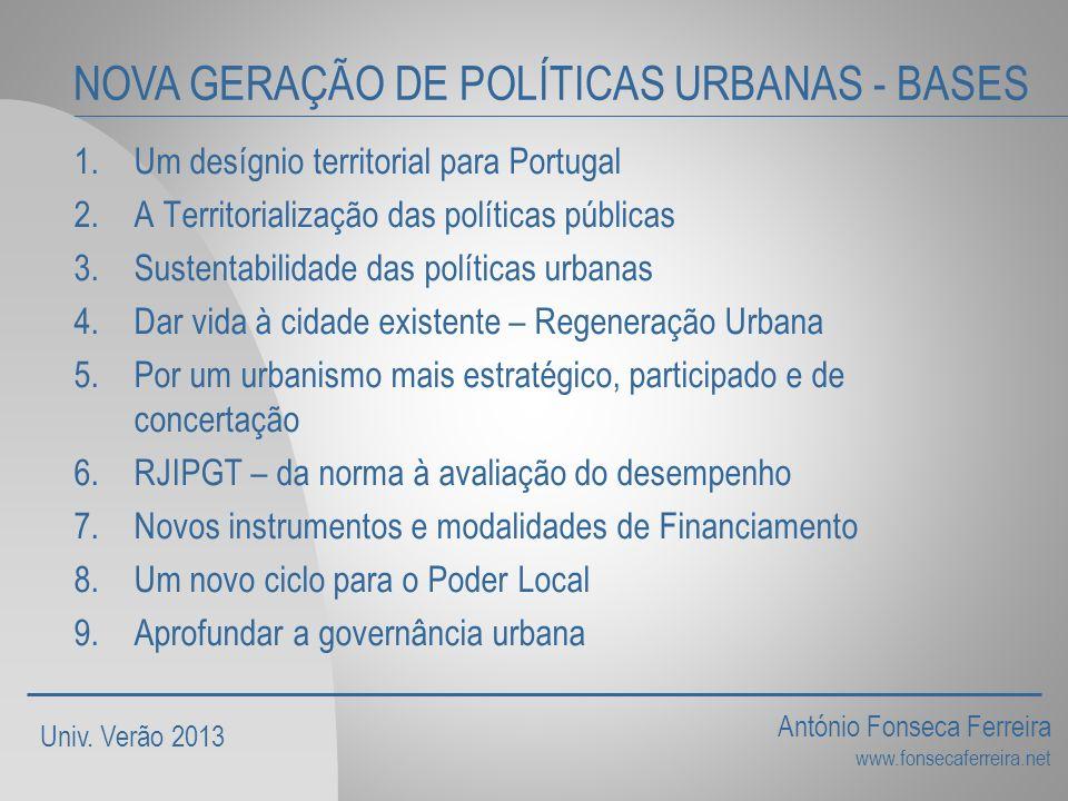 NOVA GERAÇÃO DE POLÍTICAS URBANAS - BASES