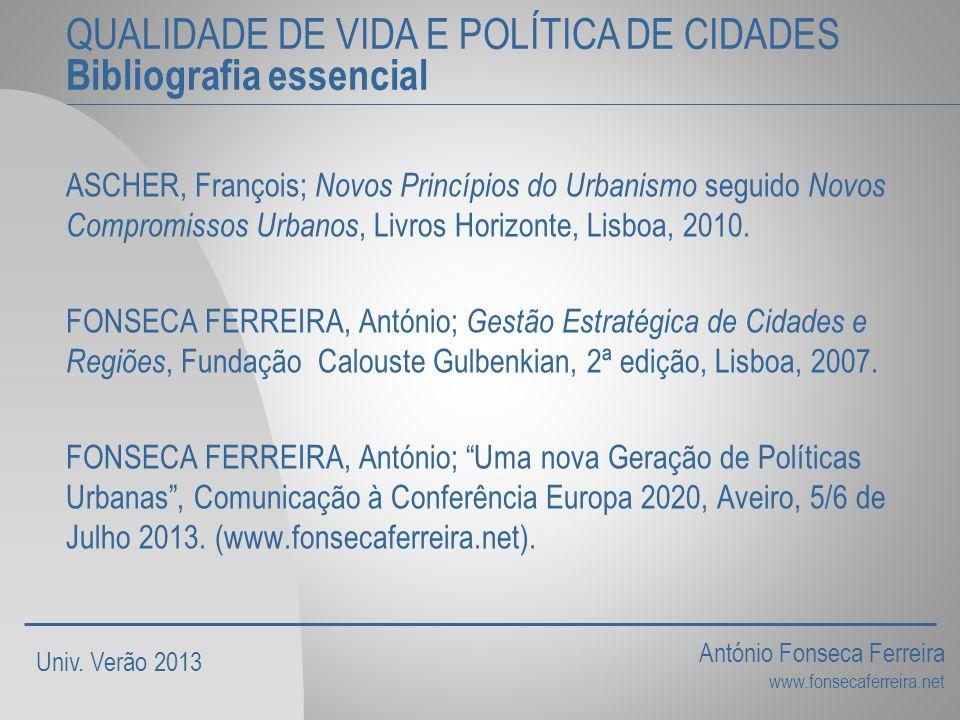 QUALIDADE DE VIDA E POLÍTICA DE CIDADES Bibliografia essencial