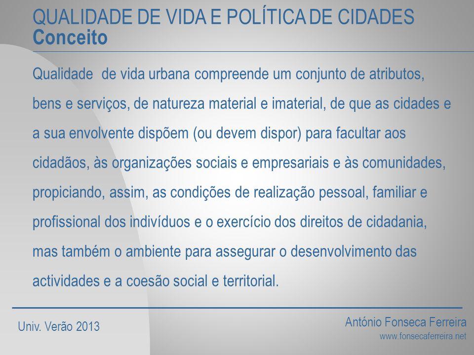 QUALIDADE DE VIDA E POLÍTICA DE CIDADES Conceito